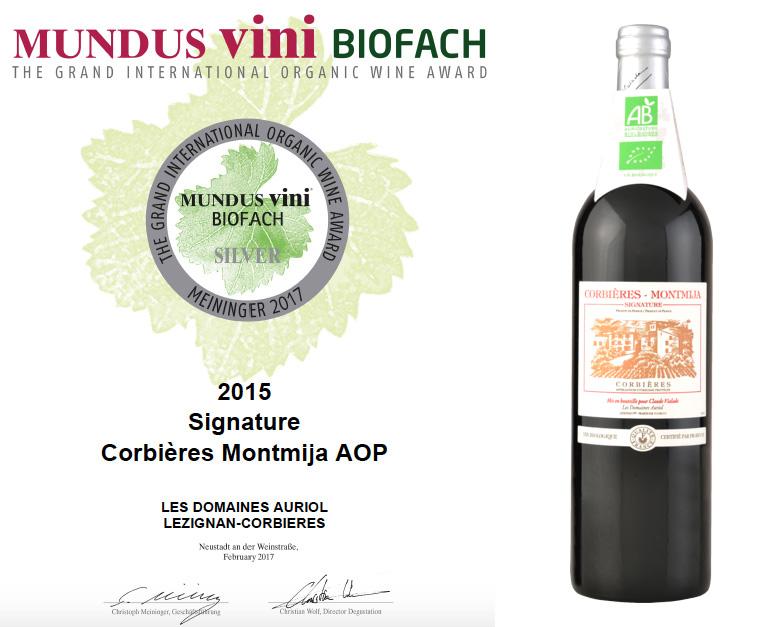 Médaille d'Argent au concours du vin bio Mundus Vini Biofach